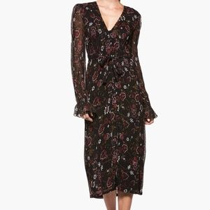 LILOU MIDI DRESS - BLACK PAINTED CHINTZ FLORAL